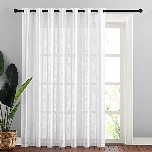 NICETOWN Linen-Like Patio Door Curtains - Extra Wide Grommet Top Semi Voile Drape Sheer Panels for Sliding Glass Door, White, W100 x L84, 1 Panel
