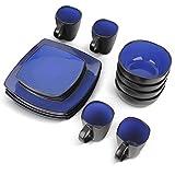 MIAMIO - 16 teilig Geschirrset/Kombiservice (4 Tassen, 4 Schüsseln, 4 Große Teller, 4 Kleine Teller) (Blau)