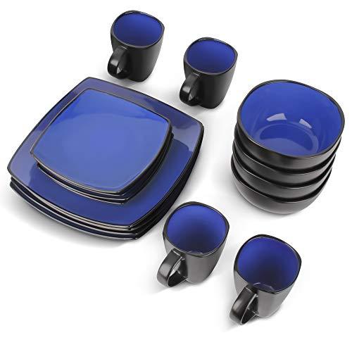 MIAMIO - 16 pezzi per la cena/Servizio da Tavola completo (4 tazze, 4 ciotole, 4 piatti grandi, 4 piatti piccoli) (Blu)