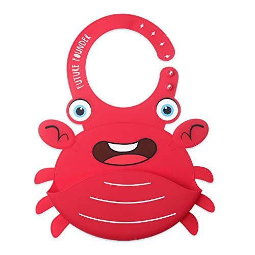 FutureFounder L/ätzchen Baby Silikon plastik weich Wasserdicht l/ätzchen mit auffangschale silicone abwaschbar Rot Krabbe Muster f/ür S/äuglingen