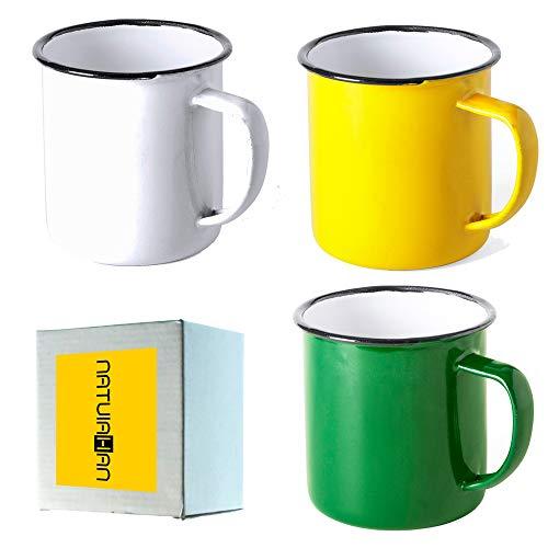 Natuiahan 3 Tazas de Metal Esmaltado. Set de 3 Tazas de Diseño Vintage. Acabado con Imperfecciones. Amarillo, Blanco y Verde.