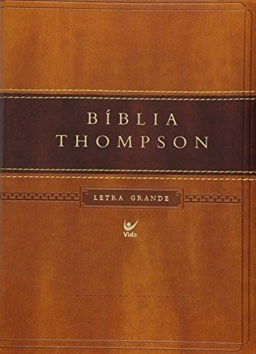 Bíblia Thompson Aec Letra Grande - Capa Luxo Marrom Claro e