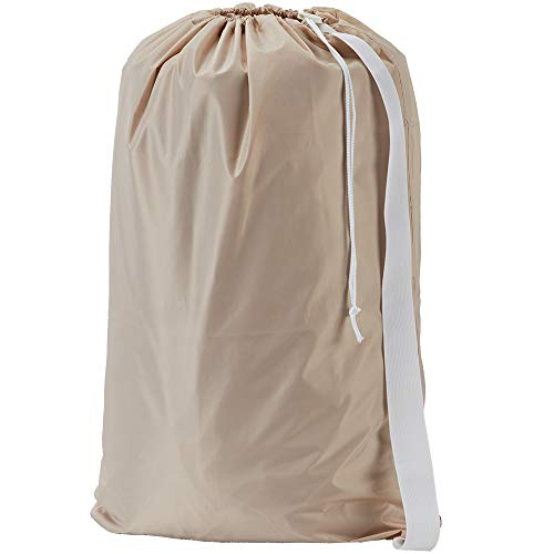HOMEST XL Nylon Laundry Bag with Strap, Machine Washable Large Dirty Clothes Organizer, Easy Fit a Laundry Hamper or Basket, Can Carry Up to 4 Loads of Laundry, Beige, (Patent Pending)