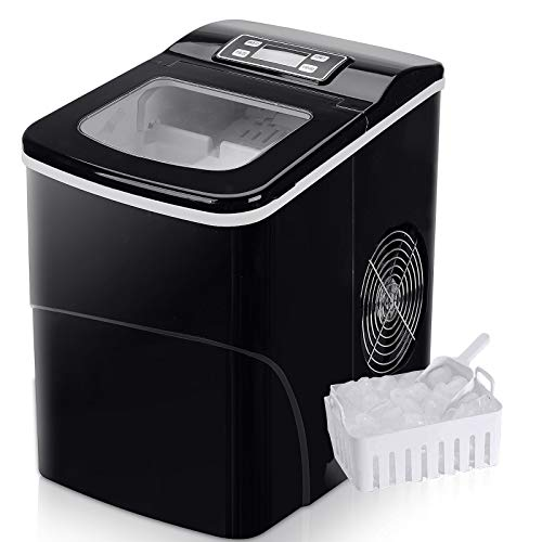 Ice Cube Maker FOOING Arbeitsmaschine für Ice Machine Maker In 6 Minuten bereit 2L Eismaschine mit Eisschaufel und Korb LED-Display Eismaschinen für Home Bar Kitchen Office