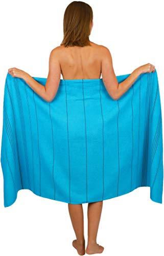 Betz Badetuch XXL Strandtuch Lines 100% Baumwolle Größe 90 x 180 cm Farbe Aqua