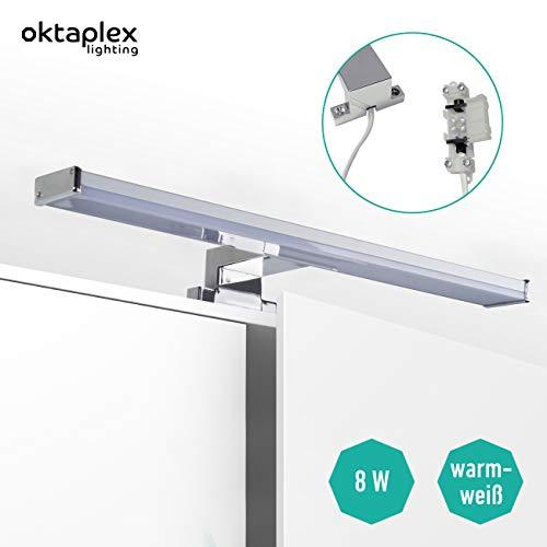 Spiegelleuchte Bad LED Bali S 8W | Spiegellampe Spiegelschrank Badezimmer 40cm | Badlampe Spiegel warmweiß 3000K 640lm Oktaplex lighting