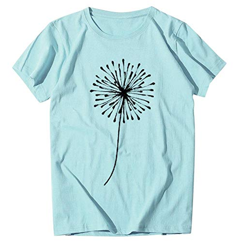 T-Shirt Women's Loose Dandelion Printing T-Shirt Short Sleeves Round Neck Loose T-Shirt Oversize Apply To Daily Use Exercise Running Cycling Gym Etc-Blue_XXXL_China
