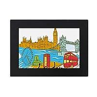 英国は、イギリス・ロンドン デスクトップフォトフレーム画像ブラックは、芸術絵画7 x 9インチ