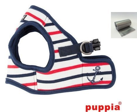 """Puppia Capitane Anchor Navy Striped Step in Harness Vest Smart Tag Travel Set- Dog Sizes Small Thru X-Large (Small- Chest 12.2"""", Neck 9.1"""", Navy/White/Red Stripe)"""