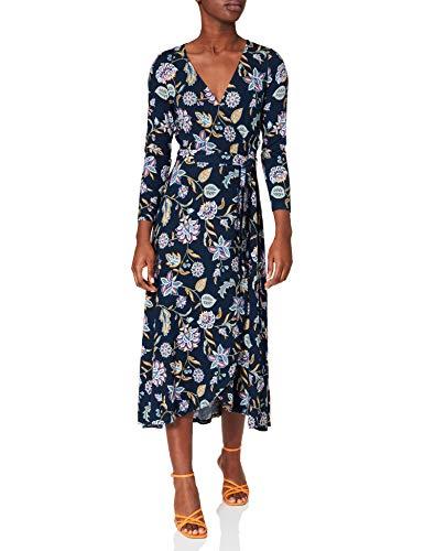 Springfield Vestido Midi Cruzado Estampado, Azul Claro, XL para Mujer