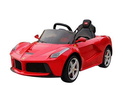 Ferrari RUNRUNTOYS-Coche Eléctrico 12V Licenciado para Niños de +3 Años con Asiento de Piel y Puertas Abatibles, Color Rojo (Herrajes Multimec 4004)