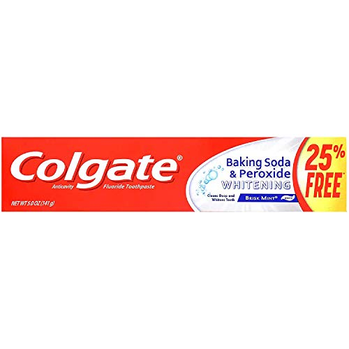 Colgate Fluoride Toothpaste with Baking Soda & Peroxide Whitening Brisk Mint Paste. TWO 5.0 oz