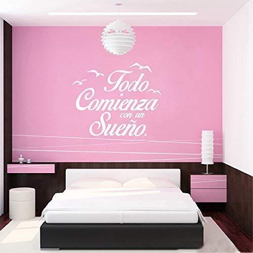 Hangqiao Pegatina todo comienza con un sueño para dormitorios color blanco 55 X 45 cm