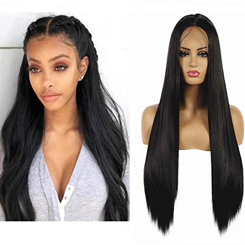 Life Diaries 10% Human Hair+90% Synthetic Fiber 13x3.5Inch Lace Part Nature Black Lace Front Synthetic Wig Nature Straight Half Hand Tied Wigs Natural Hairline Heat Resistant Fibers For Women 24Inch