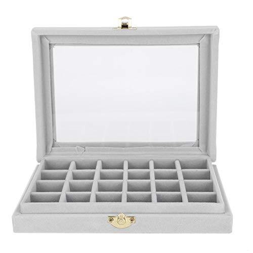 DAUERHAFT Schmuck Aufbewahrungsbox Praktisch für die Aufbewahrung Schmuck Aufbewahrungsbox Schmuckschatulle Schmuck Veranstalter Schmuck Aufbewahrungskoffer Tolles Dekor mit einem Oberlicht(Gray)