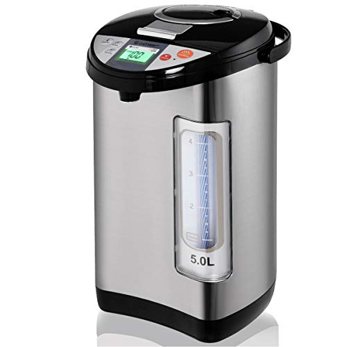 Costway Instant Electric Hot Water Boiler and Warmer, 5-Liter LCD Water Pot with 5 Stage Temperature Settings, Safety Lock to Prevent Spillage, Stainless Steel Hot Water Dispenser