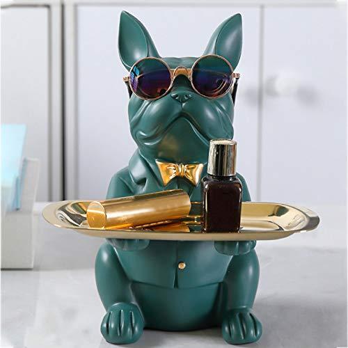 Bandeja de estatua Bulldog, estatua de Bulldog, hucha de la estatua de Bulldog, figura de Bulldog para decoración de escritorio multifuncional regalo