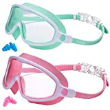 Swimming Goggles 2 Pack Kids Goggles No Leaking Anti Fog Wide View Goggles Kids Swimming UV Protection Crystal Clear Watertight Swim Goggles Suitable for Children Youth Boys Girls Toddler Age 3 to 15