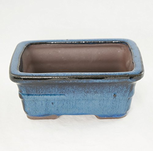 Rectangular Glazed Shohin Bonsai / Succulent Pot 6'x 4.5'x 2.5' - Blue Stain Glazed