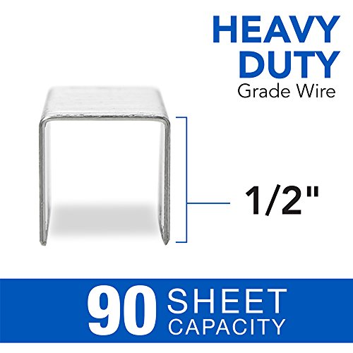 "Swingline Heavy Duty Stapler, 160 Sheet High Capacity, Durable Office Desk Staplers, Black/Gray & Staples, Heavy Duty, 1/2"" Length, 90 Sheet Capacity, 100/Strip, 1000/Box, 1 Pack, Silver Photo #6"