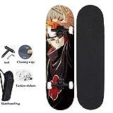 Skate Tabla De Monopatín, Tabla Completa con Rodamientos ABEC-7 Naruto Naruto, Sección De Vuelo,...