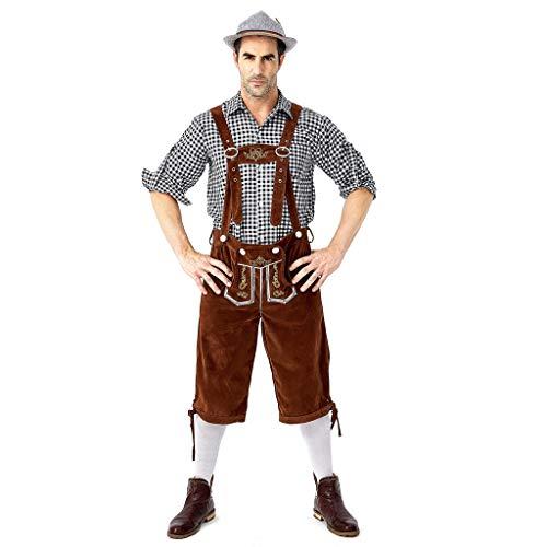 Herren Herbst lose beiläufige tägliche Revers Plaid Beer Festival Langarm Shirt Top Deutsches traditionelles Bierfestival, das Kariertes Hemd kleidet, stickt Hosenträger-Anzug Lose beiläufige Art