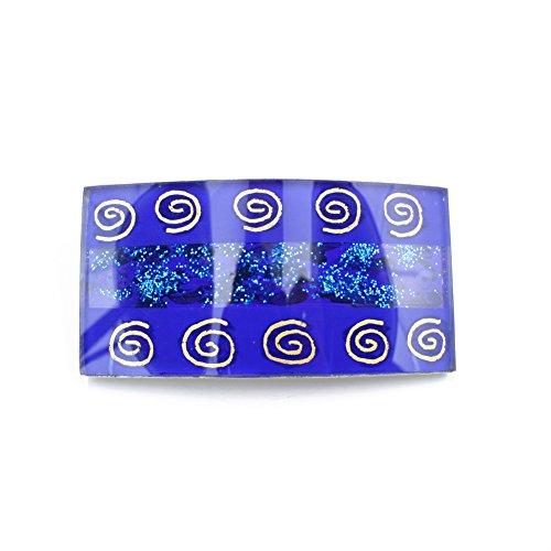 rougecaramel - Barrette cheveux rectangulaire 10cmx4,5cm bleu