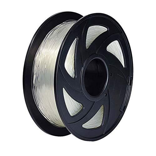 3d Printer Filament, TPU Filament 1.75mm 3d Printer Accessories Dimensional Accuracy +/-0.02mm 3D Printing Material Plastic (Color : Transparent)