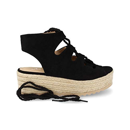 Sandalia Mujer Plataforma Casual de Yute con Cordon Ajustable Espardenas de Moda Primavera Verano 2019. Talla 38 Negro