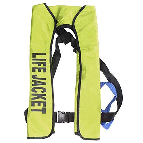 TENGXI Chaleco salvavidas inflable automático fuerte flotabilidad ultraligero con traje flotador hinchable con correa con silbato (Sin bombona de gas)