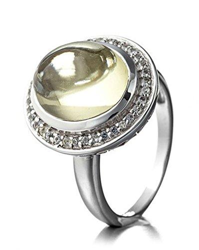 Silvancé - Anello da donna – argento 925 rodiato – vera pietra preziosa: quarzo citronico circa 5.09 ct - R7005LQ_SSR e Argento, 20, cod. R7005LQ_SSR_19