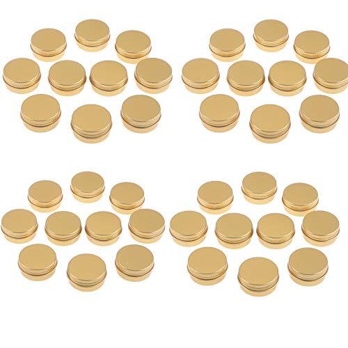 RUIYELE 100 tarros de aluminio para estaño, 10 g, recipientes redondos de lata con tapa de rosca para manualidades, cosméticos, velas, almacenamiento de viajes/dorado