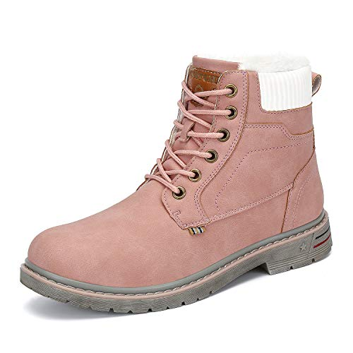 Mishansha Womens Mens Outdoor Anti-Slip Winter Snow Leather Hiking Boots Warm Fur Lined Ankle Booties pink