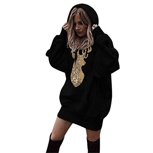 Oliviavan,Frauen Mode Patchwork Kleidung Hoodies Pullover Sweatshirt Damen Langarm Lose Bluse Hemd Shirt Oversize Blusen Tops Streetwear Strick Herbst Winter Kleid (Schwarz-2, S)