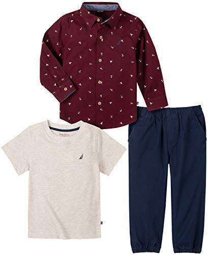 Nautica Conjunto de 3 piezas de camisa/camiseta de beb, Borgoa, 3-6 meses