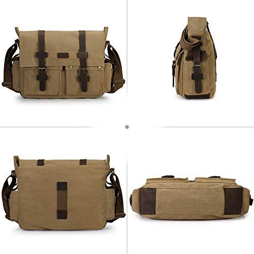 S-ZONE Vintage Camera Messenger Bag Leather Canvas DSLR Shoulder Crossbody Bag