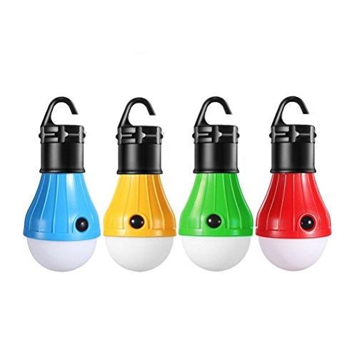 LEDMOMO Lanterne portative de LED, ampoule de tente de 4 PACK pour le camping faisant marcher la lumière de secours de batterie de secours de pêche (rouge / bleu / jaune / vert)