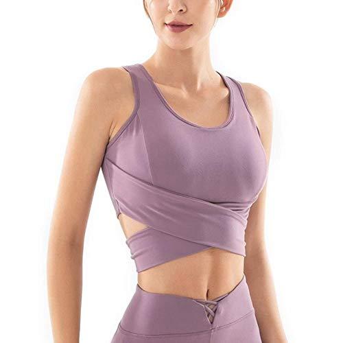 Reflecterend vest Yoga Sportswear T-shirt Sport Fitness Dames Lady zonder mouwen Solido Papillon T-shirt sneldrogend Top Outdoor, Purple L