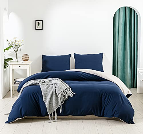 SANMADROLA Duvet Cover King Size 3pcs Bedding Duvet Cover Sets(1 Duvet Cover,2 Pillowcases) Duvet Cover Set Washed Ultra-Soft and Breathable Double-Sided Use (Navy Grey,King)