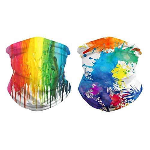 MagiDeal 2pcs 3D Colorful Bandana Face Balaclava Neck Polaina Bufanda Riding Headwear