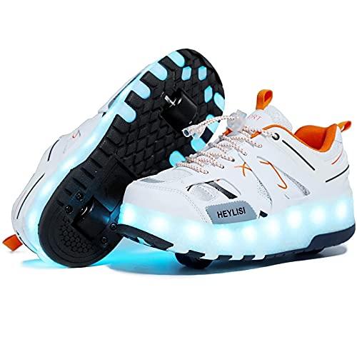 Skateboarding Zapatos con Ruedas, Led Automática de Skate Zapatillas, LED Luz Moda Aire Libre Parpadea, Exterior Patines en Línea Brillante Skate Aire Libre Gimnasia Trainers