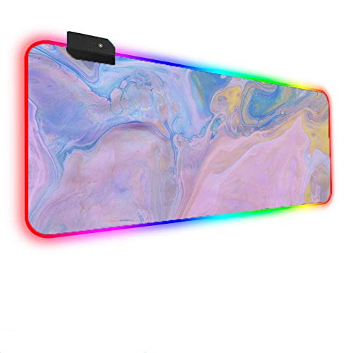 Mouse Pads Colored Marble RGB Gaming Mouse Pad X Large LED Mouse Mat Anti-Slip Base Computer Keyboard Mat for Gaming Computer/Laptops/Office Desk 11.81'x35.43'