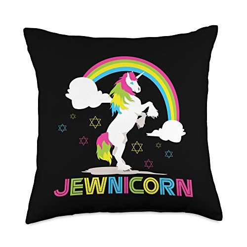 BCC Santa's Christmas Shirts & Jolly Gifts Jewnicorn Jewish Unicorn Hanukkah Ugly Christmas Sweater Throw Pillow, 18x18, Multicolor