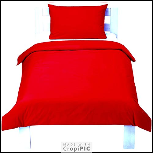 2 Piece Bedding Set Pillowcase+Duvet Cover for Baby Toddler to fit Cot/Cot Bed (120cm x 150cm, Red)