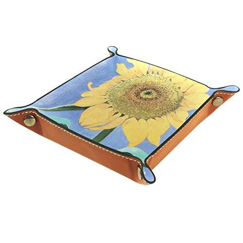 Kleine Aufbewahrungsbox,Herren-Valet-Tablett,Blume New Mexico-Kunst,Leder Catchall Organizer für Coin Box Key Schmuck