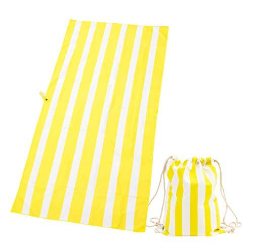 Exerz Toallas de Microfibra y Bolsas con Cordón/Toallas de Playa – Viajeras XXL 160x80 cm/Toallas para Deportes Set de 2 Piezas de Toallas con Rayas para la Playa - Gimnasio