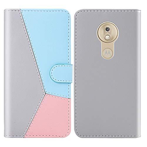 Teléfono Funda Protectora Teléfono Teléfono para Motorola Moto G7 Play Tricolor Stitching Horizontal Flip TPU + Funda de Cuero PU con Soporte y tragamonedas y Billetera (Color : Pink)