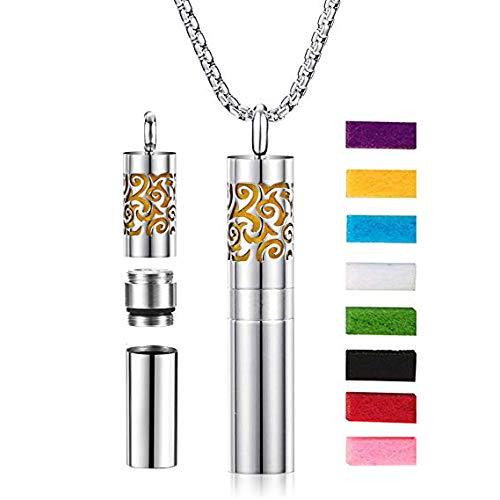 Achort Öl Diffusor Halskette, Anhänger Halskette Damen Silber Duftstofflocket Aroma Diffuser, Aromatherapie Halskette, 60,96cm Kette + 8 waschbar Einsatz Pads
