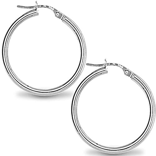 TreasureBay Trendy 4mm Bold Thick Shiny Hoop Earrings 925 Sterling Silver Hoops Earrings Gift for Women and Girls Available in Different Sizes (5 Cm)
