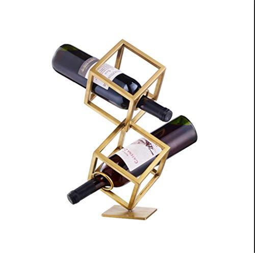 LBYSK Wine Rack Wine Set Vino Rack Casa-Arredo Bar Villa Esposizione High-End Decorazioni Vino Display Bella Geometrica Ferro Multi-Tier,B